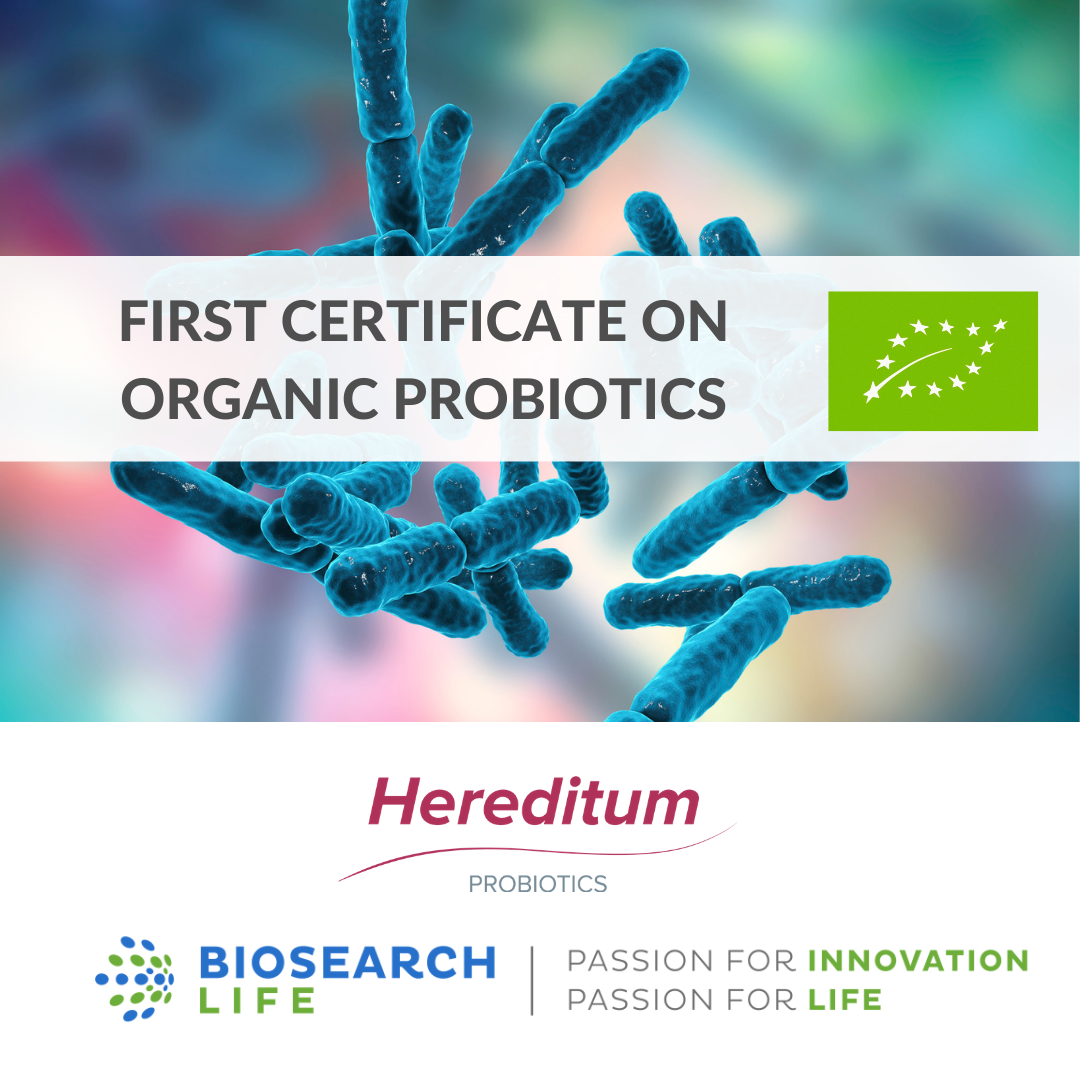 FIRST ORGANIC CERTIFICATE FOR PROBIOTICS